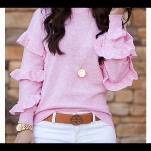J Crew wool ruffle sweater in pink. Worn twice.